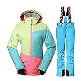Wonny 2 Teilig Skianzug Wasserdicht Schneeanzug Jacke und Hosen Unisex Skiset Blau S