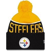 New Era gorro con Pom Pom–NFL Fútbol con borla gorro de punto gorro de invierno, Pittsburgh Steelers - negro