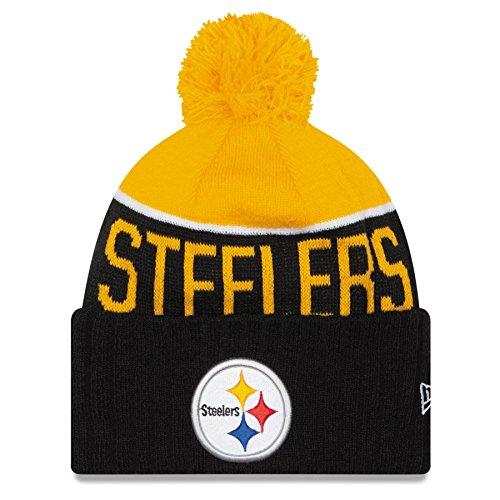 New Era Cuffed Fußball Beanie Mütze mit Pom Pom–NFL Winter Knit Toque Gap, unisex damen Jungen Herren, Pittsburgh Steelers - Black
