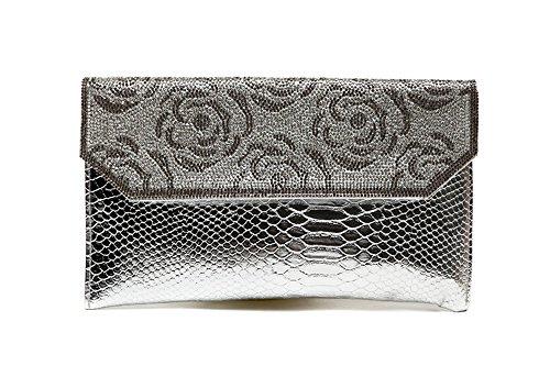 Borsa a mano, borsa a mano di diamante di moda, con un sacchetto del pacchetto di diamanti, sacchetto di spalla diagonale del diamante ( Colore : Nero ) Silver