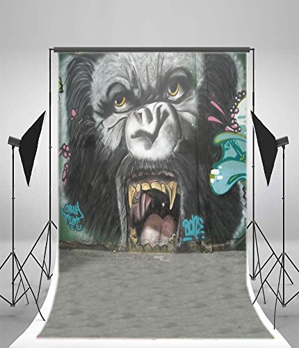 aaloolaa Fotografie Hintergründe 1 x 1,5 m Vinyl Artistic Hintergründen Orang-Utan Ape Grim Unbarmherziger Face Street Graffiti Gemälde Szene jüngere Art Portrait Foto Shooting Requisiten Video Studio