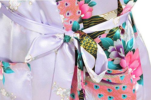 E-darter Soie Artificielle Paon Fleur Robe de Chambre Kimono Femme , Cardigan Peignoir Vêtement de Nuit Femme violet clair