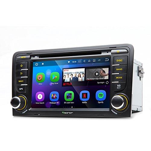 Eonon Ga8157Android 7.1Audio Stéréo de voiture radio 17,8cm en Dash Autoradio 2DIN GPS de voiture Navigation GPS avec CD lecteur de DVD pour Audi A3S32003–2011Autoradio Autoradio 17,8cm écran tactile capacitif 1024x 600haute définition support Commande au volant, DVR/caméra de recul entrée OBD2Bluetooth 4.0DAB + RDS Wifi 4G 3G, commande au volant auxiliaire Caisson de basses HDMI