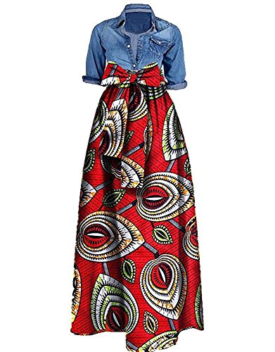 Traditionelle Dashiki (Outgobuy Damen Traditionelles afrikanisches Dashiki Kleid Langes Maxi ein Linie Rock Ballkleid)
