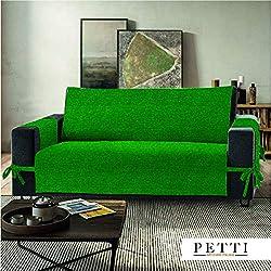 Petti, Artigiani Italiani - Copridivano 2 posti verde, 100% Made in Italy, con elastici e tasche laterali (verde, 2 Posti (120-125 cm da bracciolo a bracciolo))