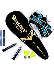 Senston Sets de badminton,2 Pcs Graphite Shaft Raquette de badminton,Y compris le sac de raquette,2 Badminton,2 sur poignée.