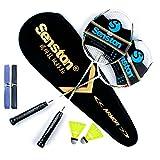 Senston Due Pezzi Pozzo della grafite Racchetta Badminton, racchetta di volano Set, compreso il sacchetto di volano e 2 Badminton, con Overgrip, 2 set.