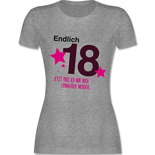 Geburtstag - Endlich 18 - XL - Grau meliert - L191 - Damen T-Shirt Rundhals