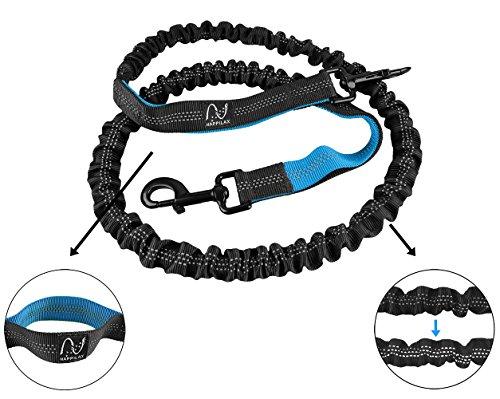 Joggingleine für Hunde mit extra hoher Spannkraft für Belastungen bis 100kg und dehnbar von 120 bis 220cm | stoßdämpfend und reflektierend | von Happilax -
