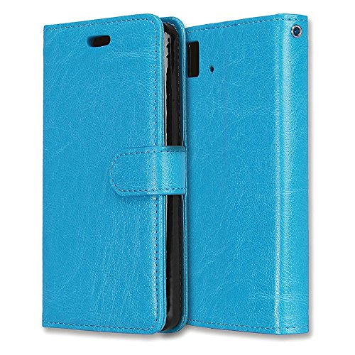 MOONCASE BQ Aquaris E4.5 Hülle, Durable TPU Ständer Ganzkörper Schutzhülle mit Card Slots Holster Flip Leder Handyhülle Case für BQ Aquaris E 4.5