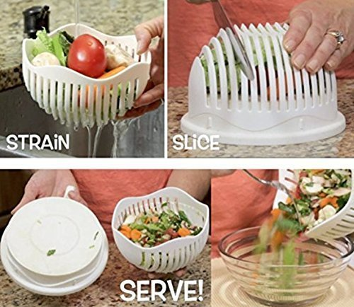 Kitchenware Plastic Multipurpose Salad Cutter Strainer Bowl