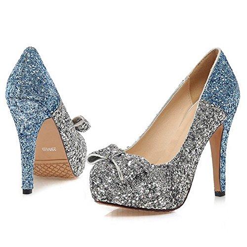 COOLCEPT Femme Mode A Enfiler Chaussures Basse Escarpins Talons Aiguille Chaussures Bout Ferme avec Bow Bleu