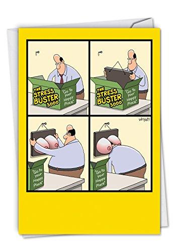 Stress Buster: Funny Geburtstag Grußkarte siehe eine Classic Mitte Man Go To His Happy Place, mit Kuvert. c4170bdg