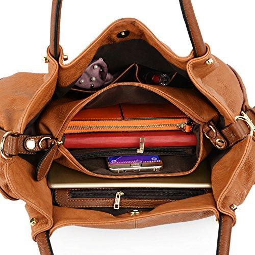 UTO Damen Handtasche Set 3 Stücke Tasche PU Leder Shopper klein Schultertasche Geldbörse Trageband schwarz braun