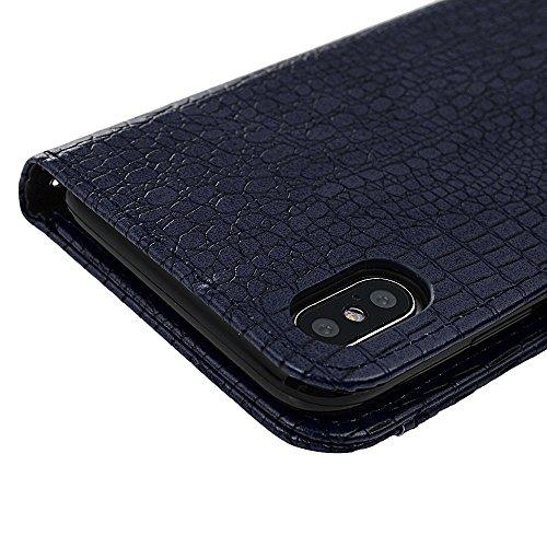 Badalink Hülle für iPhone X Schwarz Handyhülle Krokodilmuster Case Cover Magnet Flip Case Schutzhülle Kartensteckplätzen und Ständer Handytasche Blau