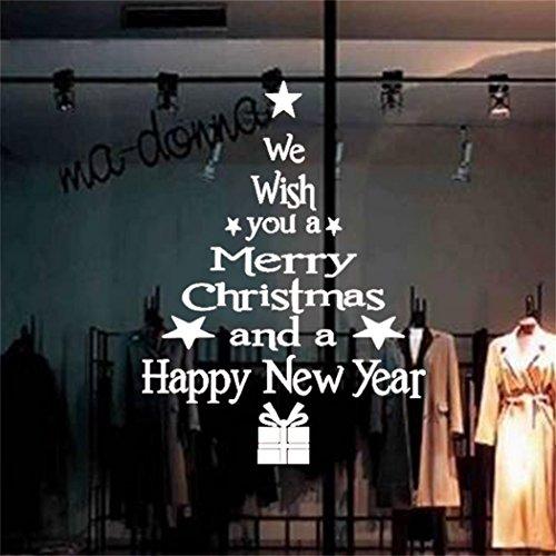 MBSLIVE Merry Christmas Wandsticker Dekoration wiederablösbar Fenster Aufkleber Weihnachts Buchstabe Baum Aufkleber Wandbild Deko Vinyl Aufkleber Decor weiß (Dekorationen Weihnachten Baum)