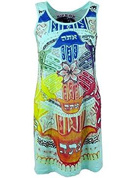GURU-SHOP, Blusa con Espejo, Camisa Larga, Minivestido Mandala Om, Algodón, Camisas Sure`