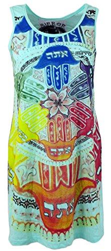 GURU-SHOP Top Espejo, Camiseta Larga, Minivestido Mandala, Turquesa, Algodón, Tamaño:S (36), Camisas Sure`