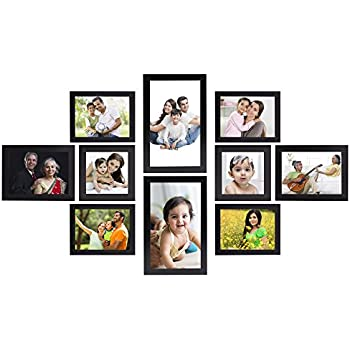 Amazon Brand - Solimo Collage Photo Frames, Set of 10,Wall Hanging (4 pcs - 4x6 inch, 2 pcs - 5x7 inch, 2 pcs - 6x10 inch, 2 pcs - 5x5 inch),Black