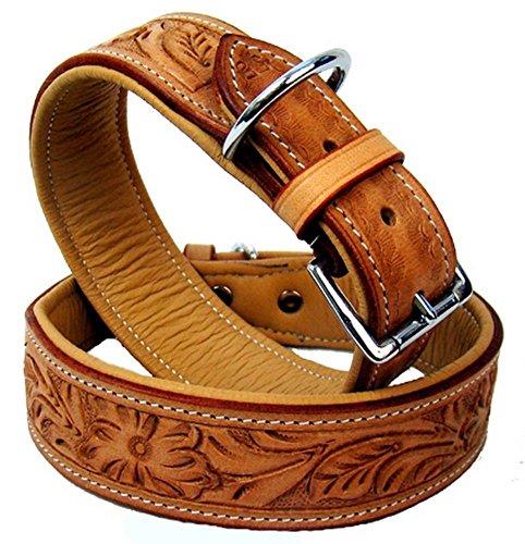 hundeinfo24.de Mad Dog deLuxe Indianer Hundehalsband Leder Typ Chico beige Halsband m. schönen Verzierungen V, Büffelleder Größe Grösse:S