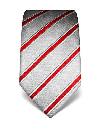 Vincenzo Boretti Herren Krawatte reine Seide gestreift edel Männer-Design gebunden zum Hemd mit Anzug für Business Hochzeit 8 cm schmal/breit silber