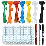 SelfTek Attaches pour zip de 140 pièces Attaches de marqueur colorées Attaches de câble autobloquantes avec étiquettes de câble de 256 pièces et stylo marqueur de 3 pièces