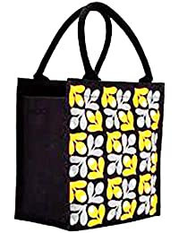 Samyawoven Bag Woven Canvas EcoFriendly Portable Bag Printed Black Yellow Floral (Natural)