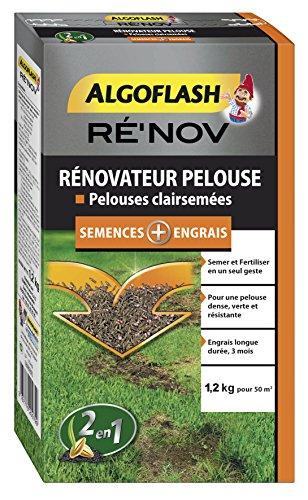 ALGOFLASH Mélange Engrais + Semences pour Rénovation Pelouse 50 m² 1 2 Kg Orange 18.3 x 6.4 x 32 cm