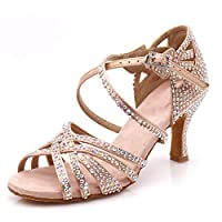 LOOGTSHON Women Party Dance Shoes Satin Shining Rhinestones Soft Bottom Latin Dance Shoes Salsa Dance Shoes Heel 7.5cm (9(US), Nude)