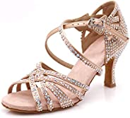 LOOGTSHON Women Party Dance Shoes Satin Shining Rhinestones Soft Bottom Latin Dance Shoes Salsa Dance Shoes He