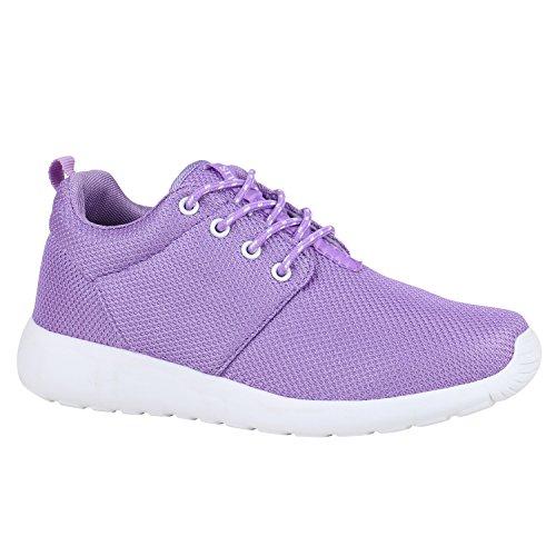 453dfe8c231692 Damen Schuhe Sportschuhe Trendfarben Runners Sneakers Laufschuhe 155800  Lila Weiss 40 Flandell