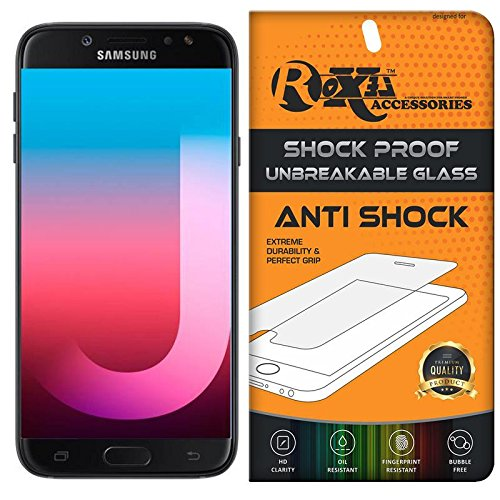 Samsung Galaxy J7 Pro Roxel® {Buy 1 GET 1 Free} Unbreakable Anti Shock Series Tempered Glass Screen Protector for Samsung Galaxy J7 Pro (Black, 64 GB)