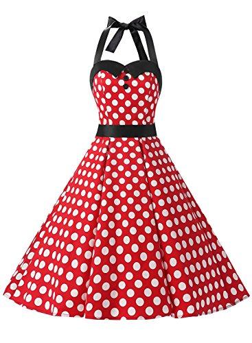 Dressystar Vestidos Corto Cuello Halter Estampado Flores y Lunares Vintage Retro Fiesta 50s 60s Rockabilly Mujer Rojo Blanco Lunares XL