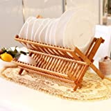 Kurtzy Bamboo Foldable Dish Rack Perfect Plate Bowl Double Drainer Wooden Utensil Holder for Kitchen