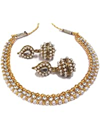 Shree Mauli Creation White Alloy With Pearl Choker Necklace Set For Women SMCN72