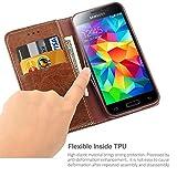 iDoer Galaxy S5 Funda con tapa libro piel y TPU cartera cover Funda de cuero carcasa bumper protectores S5 estuches soporte flip Case para Samsung Galaxy S5 / Neo café