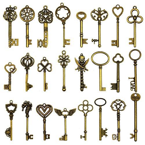 24 Stück große antike Bronze Skelett Schlüssel rustikalen Schlüssel für Hochzeit Dekoration gefallen, Halskette Anhänger, Schmuck machen