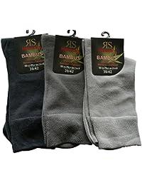 6 Paar Socken Bambus RS Softrand Schwarz Blau Grau Beige Braun (39-42, Silber-Grau-Töne)