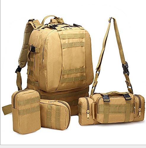 Sport Outdoor tattico militare zaino a spalla multifunzionale zaino da viaggio grande borsa da trekking, escursionismo, campeggio con 3molle smontabile borse zaini 60L, CP Khaki