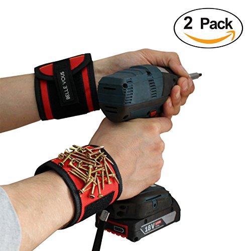 Preisvergleich Produktbild 2 Stuck Magnetisches Armband Von Belle Vous - Starke N35 Magnete Fur Werkzeuge halten, Schrauben, Nagel, Bohrer - Werkzeughalter / Veranstalter, Werkzeug Geschenk Fur DIY Heimwerker