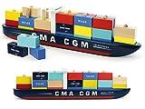 Superbe Paquebot en Bois Cargo Porte Container composé DE 34 pièces - Vilac France