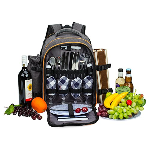 ALLCAMP Picknickrucksack für 4 Personen mit Fleece-Decke und Kühlfach