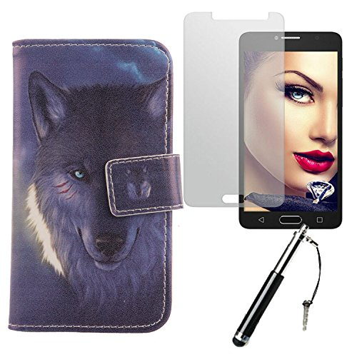 Lankashi Wolf 3in1 PU Flip Leder Tasche Für Alcatel One Touch Pop 4S 5.5