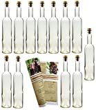 gouveo 30 Leere Glasflaschen Bordeaux 500 ml incl. Holzgriffkorken und Flaschendiscount-Rezeptbroschüre zum selbst Abfüllen Likörflasche Schnapsflasche
