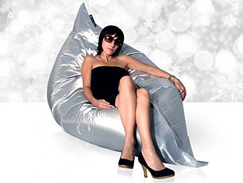 Come Feel Sitzsack XXL Indoor Markensitzsack Füllung, Bezug Baumwolle PU-Beschichtet, Farbe Silber...