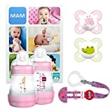 MAM Welcome Baby Starter Set, Regalo per neonato, Set di biberon con 2x Easy Start biberon anticolica 160ml, 2x Start ciuccio in silicone 0-2 mesi & portaciuccio, Bimba