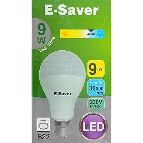 E-Saver LED 9w = 80 watt, A60 Globe, Cool White 4200k, Bayonet Cap (BC, B22, B22d) 850 Lumen, 90% Energy Saving Light Bulb, Up to 30,000 Hours Life Time - White Golf Cap