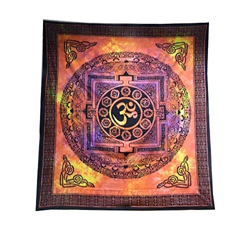 Colcha Om Mandala rojo algodón decoración pared