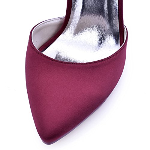 ElegantPark HC1602 Chic Escarpins Satin Femme Sangle Cheville Talon Haut Aiguille Bout Pointu D'orsay Chaussures de Mariee Ceremonie Burgundy