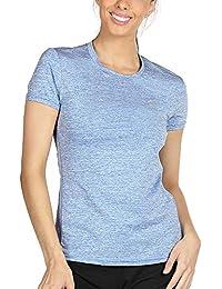 icyzone Sport T-Shirt Damen Kurzarm Laufshirt - Atmungsaktive Fitness Gym Shirt Schnell Trockened Funktionsshirt
